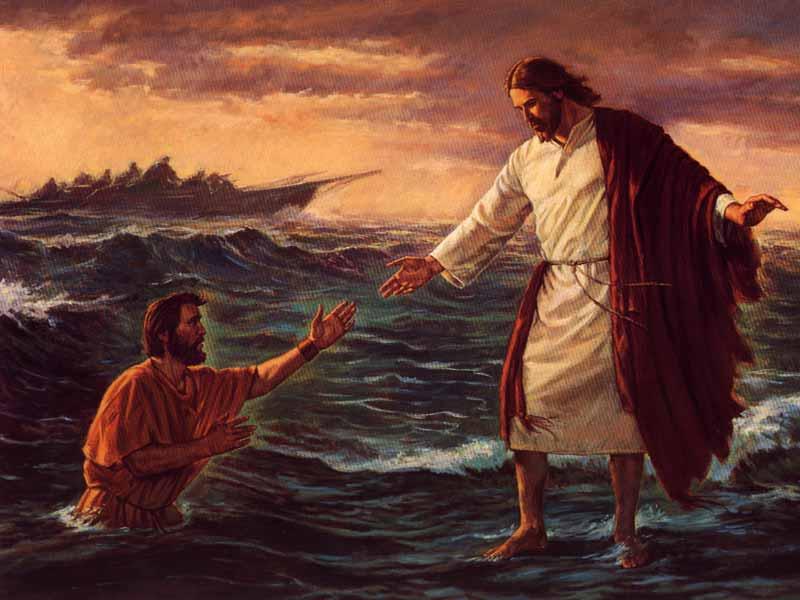 Gesù e Pietro camminano sull'acqua